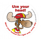 1-1090 Use Your Head Wear A Helmet Stickers - English 