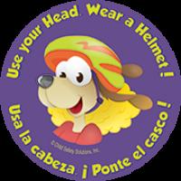 1-1090B Use Your Head! Wear Your Helmet Stickers - Bilingual