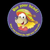 1-1090E Use Your Head Wear A Helmet Stickers - English