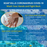 13-1007 Soap Kills Coronavirus COVID-19 Tabletop Display
