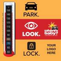 2-5125  Heatstroke Park. Look. Lock. Thermometer Cling
