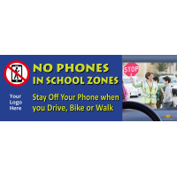 3-6210 No Phones in School Zones 8' x 3' Large Banner