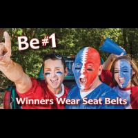 3-7017 Winners Wear Seat Belts Palm Card