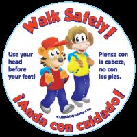 6-2840 Walk Safely Stickers - Bilingual