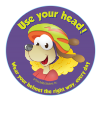 1-1090E Use Your Head Wear A Helmet Stickers - English