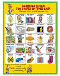 2-3140 I'm Safe! in the Car Backseat Bingo - English