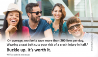 3-7014 Friends Wear Seat Belts Palm Card