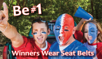 3-7017 Winners Wear Seat Belts Palm Card