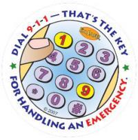 4-3790 Dial 9-1-1 Stickers - English