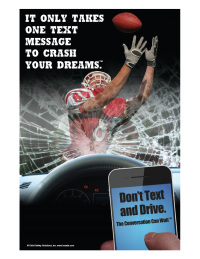 3-6107 Football Hero Distracted Driving Poster: It Only Takes One Message to Cra