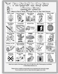 2-3142 Car Safety: Backseat Bingo Single Use Game Front