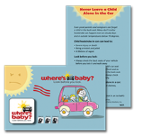 Where's Baby? NHTSA message cell phone screen cleaner