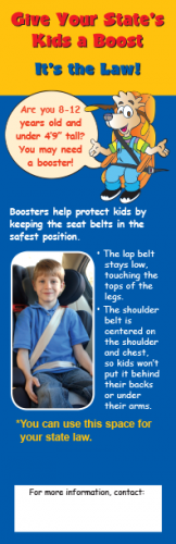 2-3020 State Law Booster Seat Bookmark - English