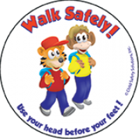 6-1370 Walk Safely Stickers - English