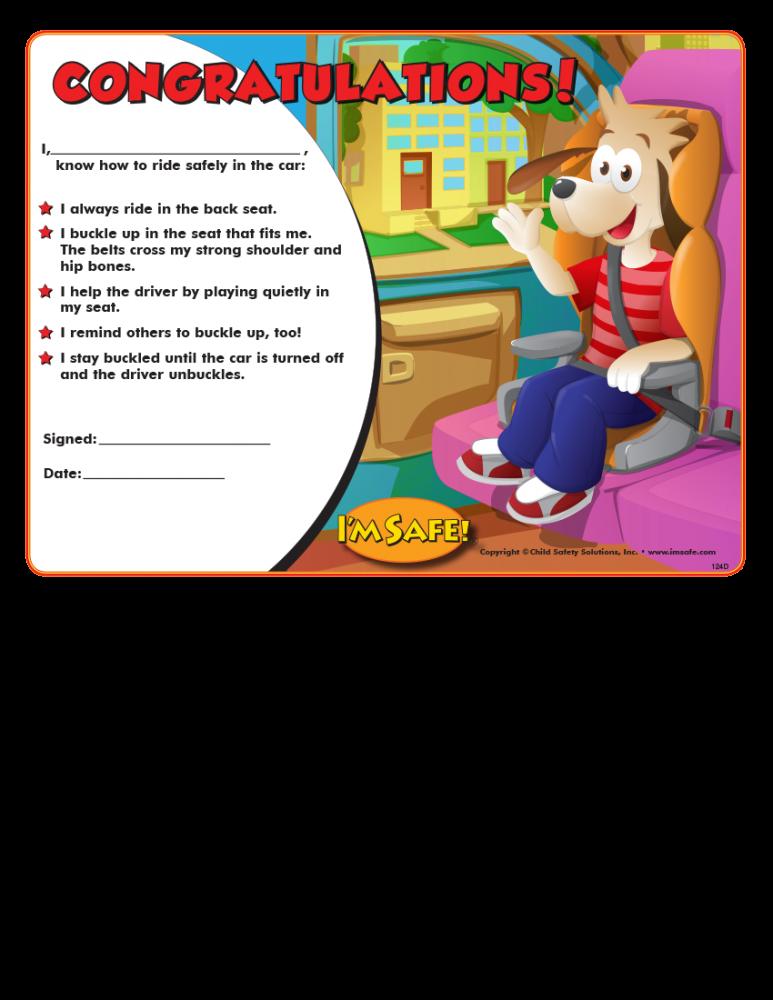 2 1240 child passenger safety award certificate english i m safe