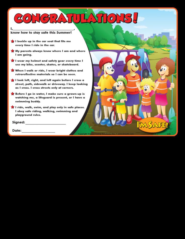 7 1420 summer safety award certificate english i m safe