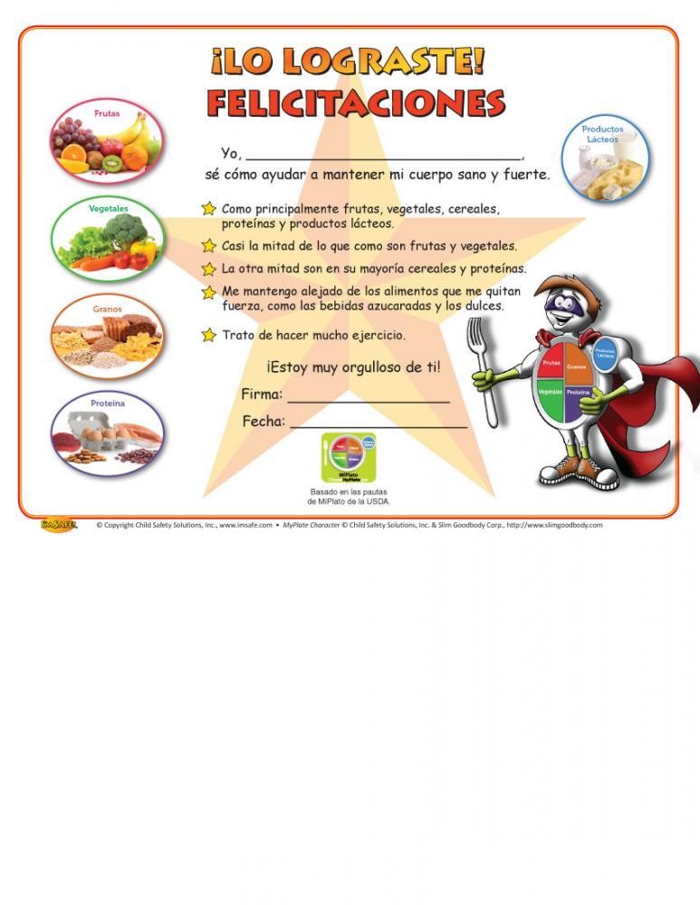 11 4019 Myplate Healthy Eating Award Certificate Spanish Im Safe
