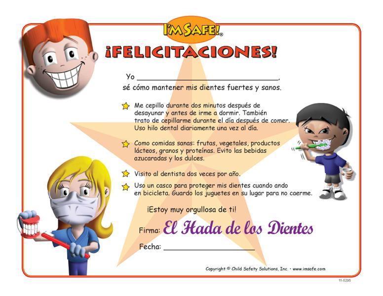 11 5294 dental health award certificate spanish i m safe