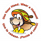 1-1090B Use Your Head! Wear Your Helmet Stickers - Bilingual