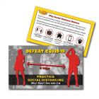 13-1008 Defeat COVID-19 Social Distancing Palm Card