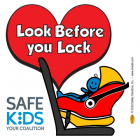2-5102  Safe Kids Look Before You Lock Window Cling - RF Car Seat
