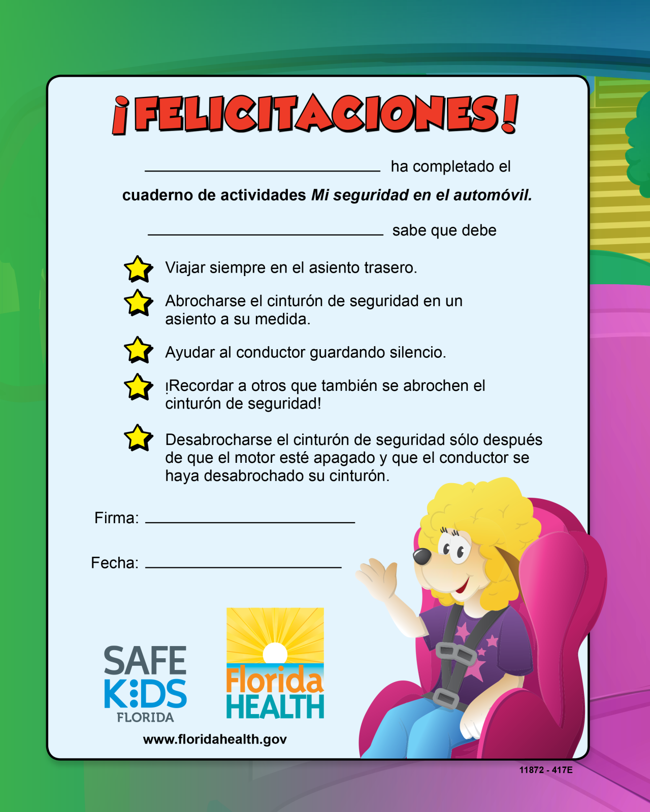 FL2-1173 Spanish Car Safety Activity Coloring Book - Florida | I\'m Safe