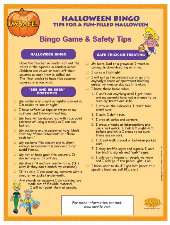 6-4790 I'm Safe! on Halloween Bingo Game - English | I'm Safe