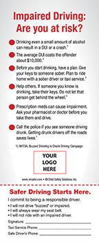 Teen Safe Driving >> 3-8000 Buzzed Driving Info-Pledge Card - NHTSA messaging | I'm Safe